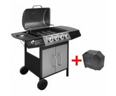 vidaXL Barbecue grill à gaz 4 + 1 brûleurs Noir et argenté