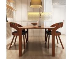 vidaXL Lot de 2 chaises à accoudoirs salle manger en cuir mélangé brun