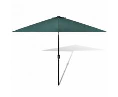 vidaXL Parasol vert avec mât en acier 3m