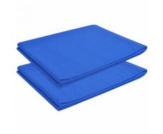 vidaXL Drap pour lit 2 pièces Coton 240 x 260 cm Bleu royal