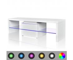 vidaXL Meuble TV LED blanc brillant 150 cm