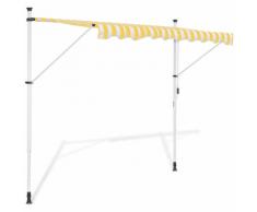 vidaXL Auvent rétractable manuel 400 cm jaune et blanc