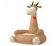 vidaXL Chaise pour enfants en peluche Girafe Marron