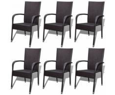 vidaXL Chaise de jardin 6 pcs Rotin synthétique Marron