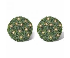 vidaXL 2 pièce de boule 27 cm avec guirlande lumineuse solaire 24 LED