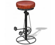 vidaXL Tabouret de bar avec pédales vélo Cuir véritable Marron et noir