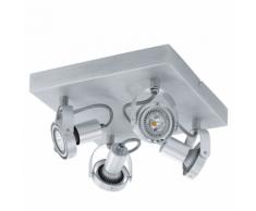 EGLO Plafonnier 4 pots LED en aluminium Novorio 4L 94645