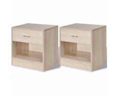 vidaXL 2 tables de chevet avec tiroir Couleur en chêne
