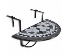 vidaXL Table de balcon suspendue Demi-circulaire Noir et Blanc