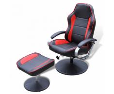 vidaXL Fauteuil en cuir artificiel avec repose-pied Noir et Rouge