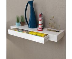 vidaXL Etagère murale en MDF Blanc avec 1 tiroir pour DVD/Livres