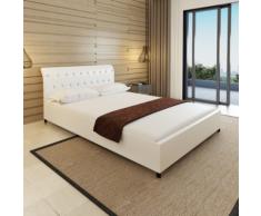 vidaXL Lit capitonné en cuir artificiel blanc 140 x 200 cm