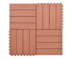vidaXL WPC carrelage de 11 pièces 30x30 cm pour terrasse-balcon-jardin brun