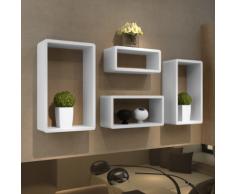 vidaXL Etagères Design Murale 4 Cubes blanc