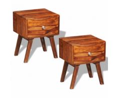 vidaXL 2 tables de chevet vintage en bois sheesham