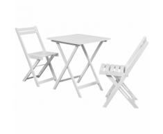 vidaXL Table à manger avec deux chaises pour balcon Blanc bois d'Acacia