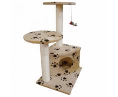 vidaXL Arbre à chat de 70cm en beige avec motif d'empreinte patte