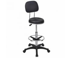 vidaXL Tabouret de salon/chaise pivotante Noir Cuir PU