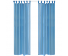 vidaXL Rideau transparent turquoise 140 x 245 cm 2 pièces