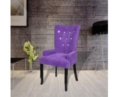 vidaXL Fauteuil avec cadre en bois Velours Violet