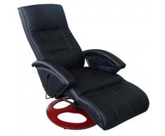 vidaXL Fauteuil de relaxation Dossier chauffant noir