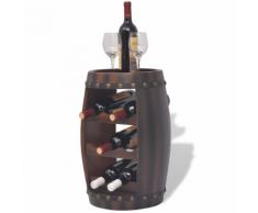 vidaXL Casier à 8 bouteilles en forme de tonneau Marron