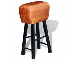vidaXL Tabouret de bar en cuir véritable marron