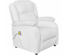 vidaXL Fauteuil électrique de massage en cuir artificiel blanc