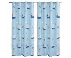 vidaXL Rideau occultant imprimé pour enfants 2 pcs 140 x 240 cm Bleu