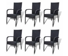 vidaXL Chaise de jardin 6 pcs Rotin synthétique Noir