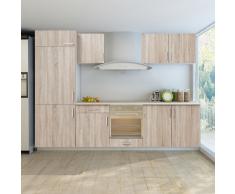 vidaXL Set de 7 meubles cuisine pour réfrégirateur (non fourni) chêne