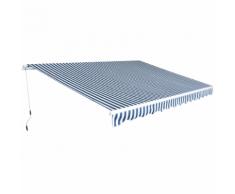 vidaXL Auvent pliant à manœuvre manuelle 4,5 x 3 m Bleu et blanc