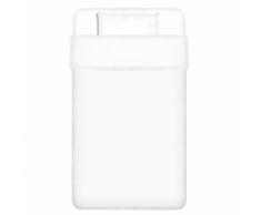 vidaXL 2 pièces housse de couette en coton Blanc 135x200/80x80 cm
