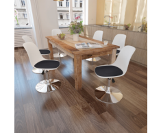 vidaXL Chaise de salle à manger 6 pcs Hauteur réglable Blanc et noir