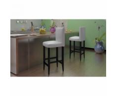 vidaXL Lot de 2 tabourets bar en cuir artificiel Moderne Blanc