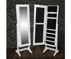 vidaXL Armoire à Bijoux rangement miroir meuble chambre blanc