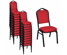 vidaXL 20 pcs Chaise empilable rembourrée Rouge