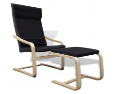 vidaXL Fauteuil en bois courbé couleur noir avec repose-pieds