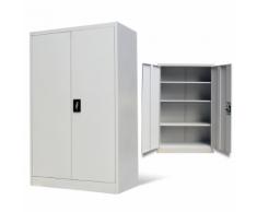 vidaXL Armoire de bureau en métal à 2 portes 140 cm Gris