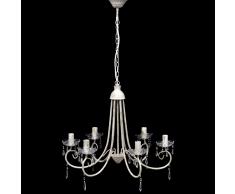 vidaXL Lustre en cristal plafonnier 6 feux lampe luminaire blanc