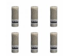 Bolsius Lot de 6 bougies 190 x 68 mm gris claire