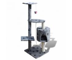 vidaXL Arbre à chat en gris avec motif d'empreinte de patte 114 cm1 niche