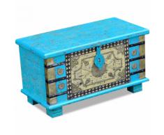 vidaXL Coffre de rangement Bois manguier bleu 80 x 40 45 cm