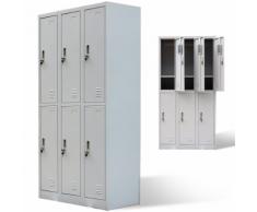 vidaXL Armoire à 6 portes de casier Gris