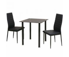 vidaXL Ensemble de table et chaise salle à manger 3 pièces noir