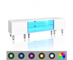 vidaXL Meuble TV LED blanc brillant 160 cm
