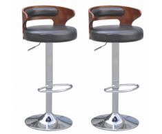 vidaXL 2 tabourets de bar noirs en cuir artificiel avec dossiers bas courbés