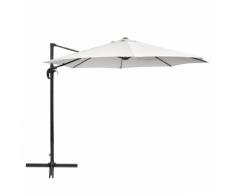 vidaXL Parasol en porte-à-faux rond aluminium Blanc sable 3 m