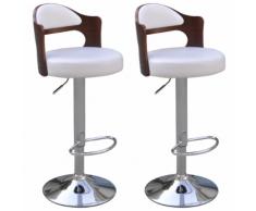 vidaXL 2 tabourets de bar blancs en cuir artificiel avec dossiers courbés