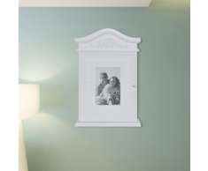 vidaXL Armoire à clés blanche avec cadre photo